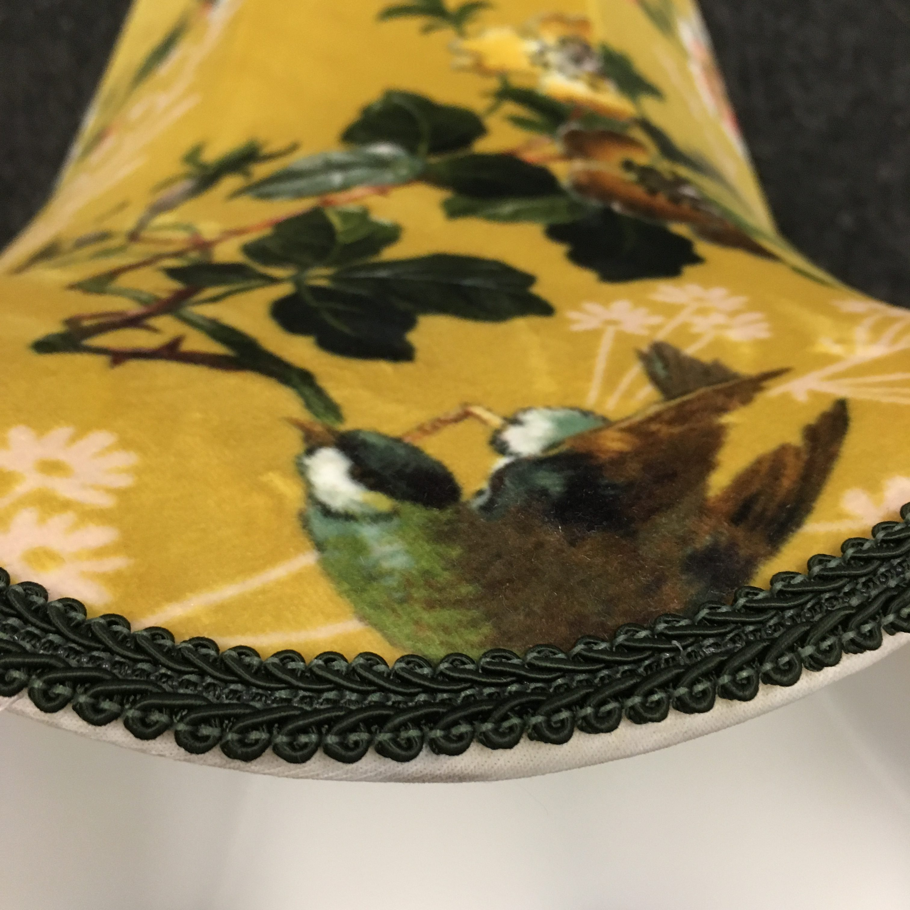 Birds & Foliage, trimmed with green brocade